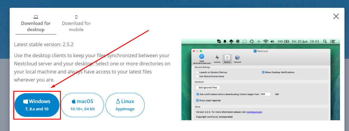 Instalando cliente Cloud FS / Nextcloud no windows